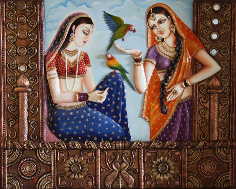 Saritas ethinic rajasthani ladies murals paintings for 3d mural painting tutorial