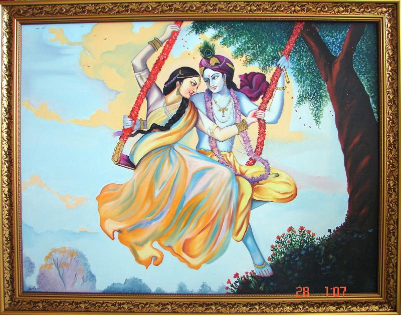 Krishna Radha Paintings 3d X3' Radha Krishna Oil Painting
